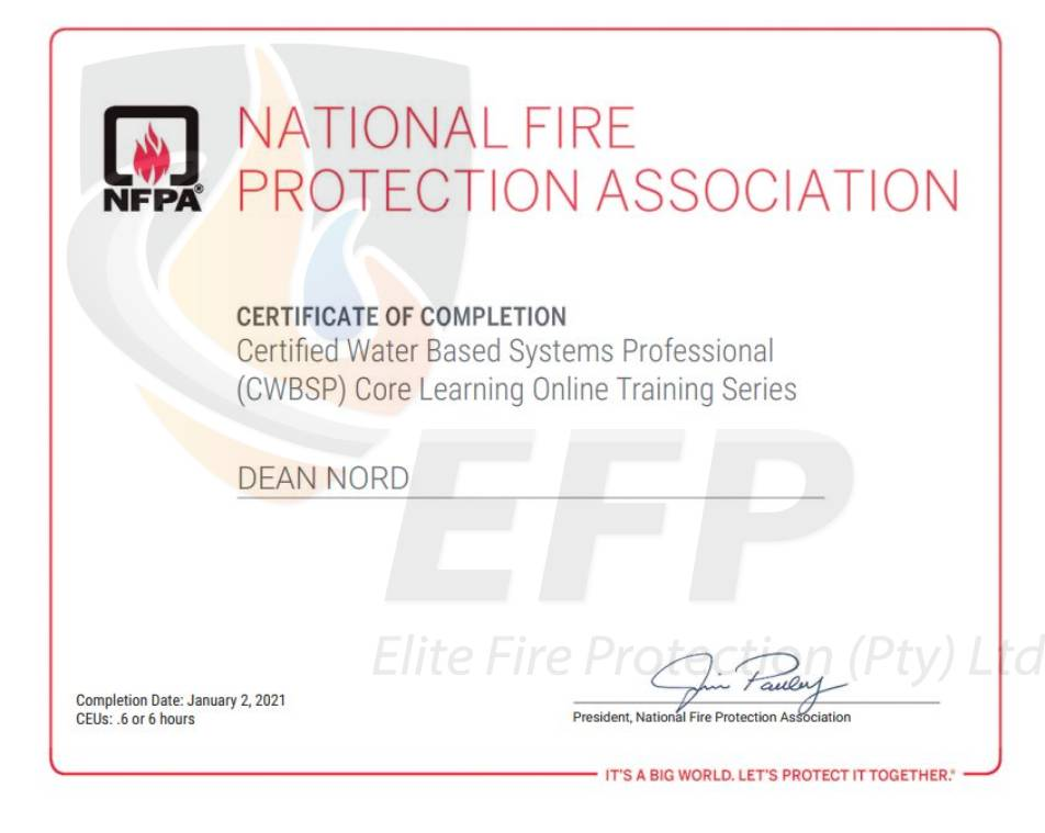 DEAN NORD - CERTIFIED WATER BASED SYSTEMS PROFESSIONAL CERTIFICATE