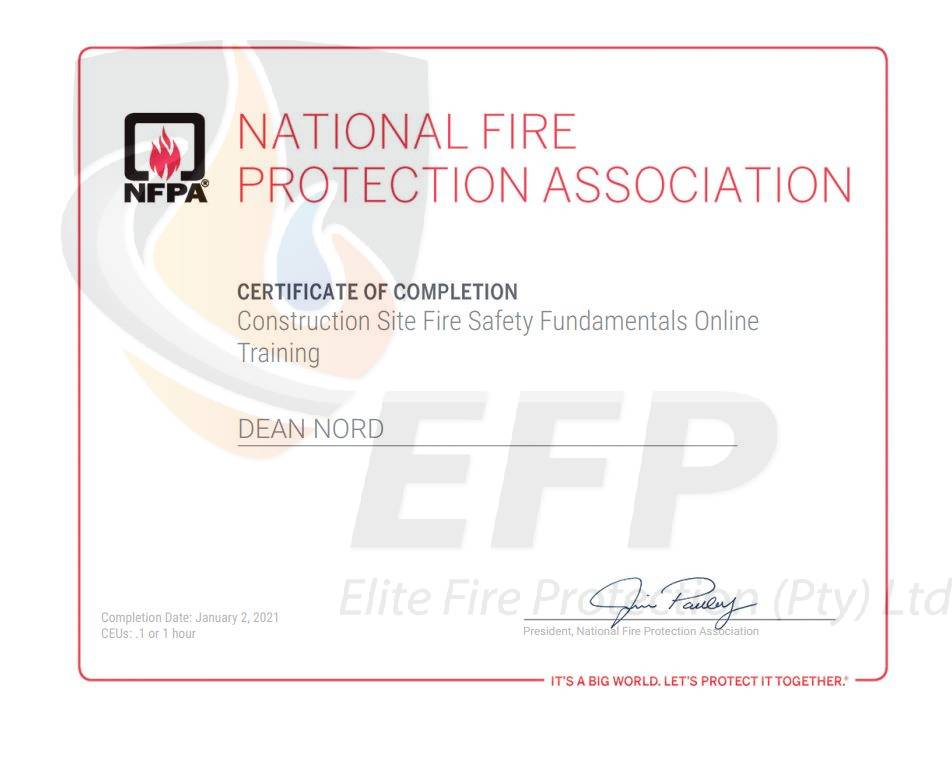 DEAN NORD - CONSTRUCTION SITE FIRE SAFETY FUNDAMENTALS