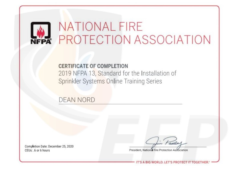 DEAN NORD - Certificate of Completion NFPA 13 - watermark