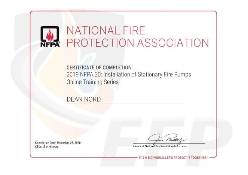 DEAN NORD - Certificate of Completion NFPA 20 - watermark