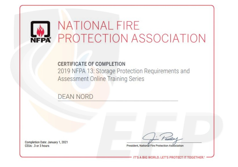 DEAN NORD - Certificate of Completion NFPA STORAGE PROTECTION - watermark
